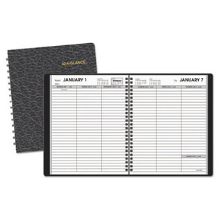 "Weekly Planner Ruled for Open Scheduling, 6 7/8"" X 8 3/4"", Black, 2021"