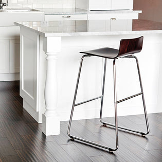 Wood Bistro-Height Stool w/ Chrome Sled Base