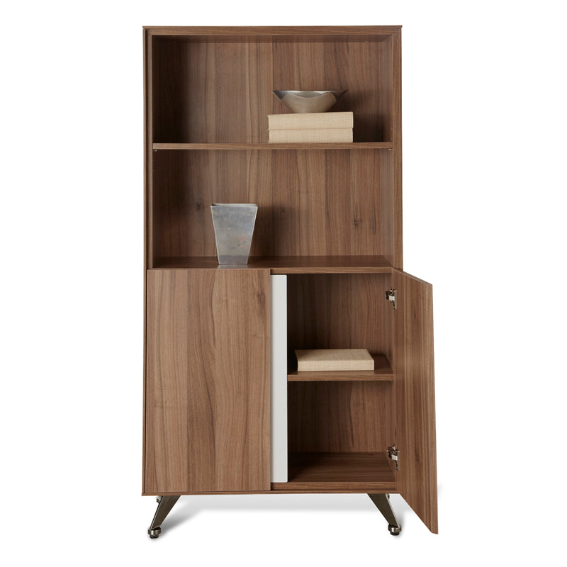 300 Series 2-Shelf Wooden Bookcase w/ Enclosed Cabinet