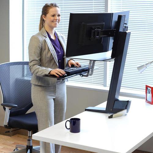WorkFit Front-Mount Dual Monitor Sit/Stand Workstation w/ Work Surface