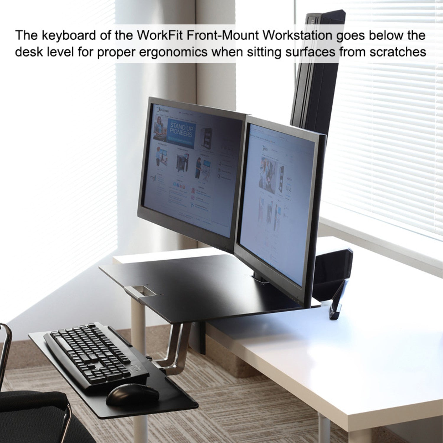 WorkFit Front-Mount Dual Monitor Sit/Stand Workstation w ...