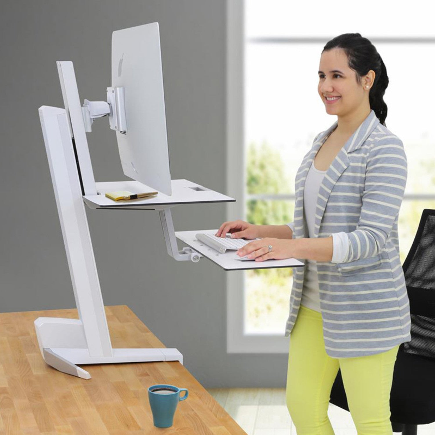 Workfit front mount single monitor sit stand workstation w work surface single