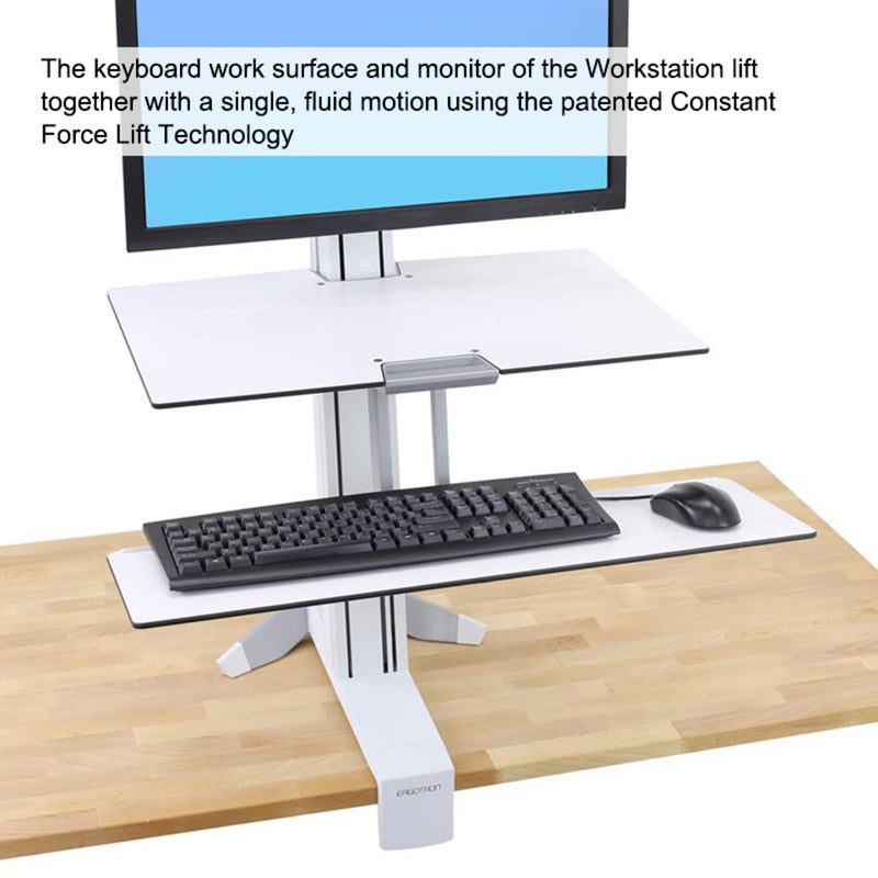 WorkFit Front-Mount Single Monitor Sit/Stand Workstation w/ Work Surface, Single Monitor