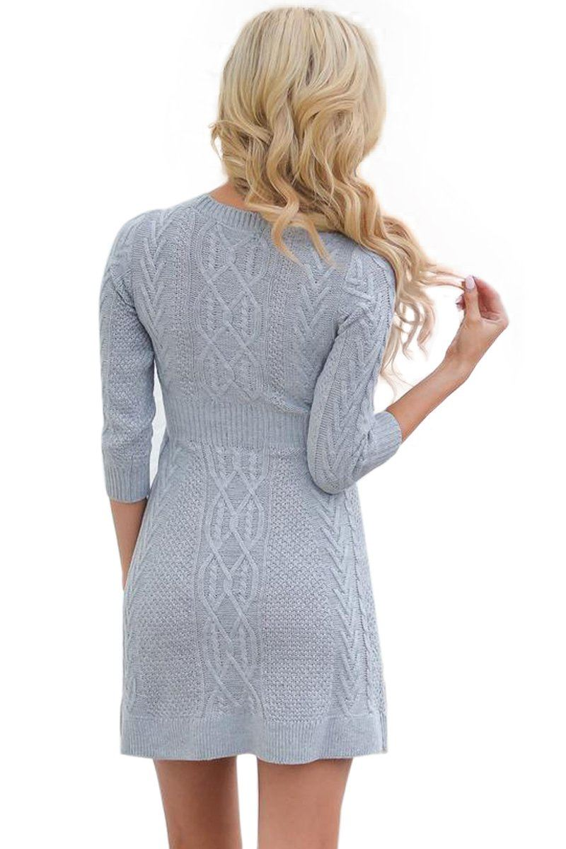 00536e6f75f ... Grey Cable Knit Fitted 3 4 Sleeve Sweater Dress-BuyzfromtheAvenue