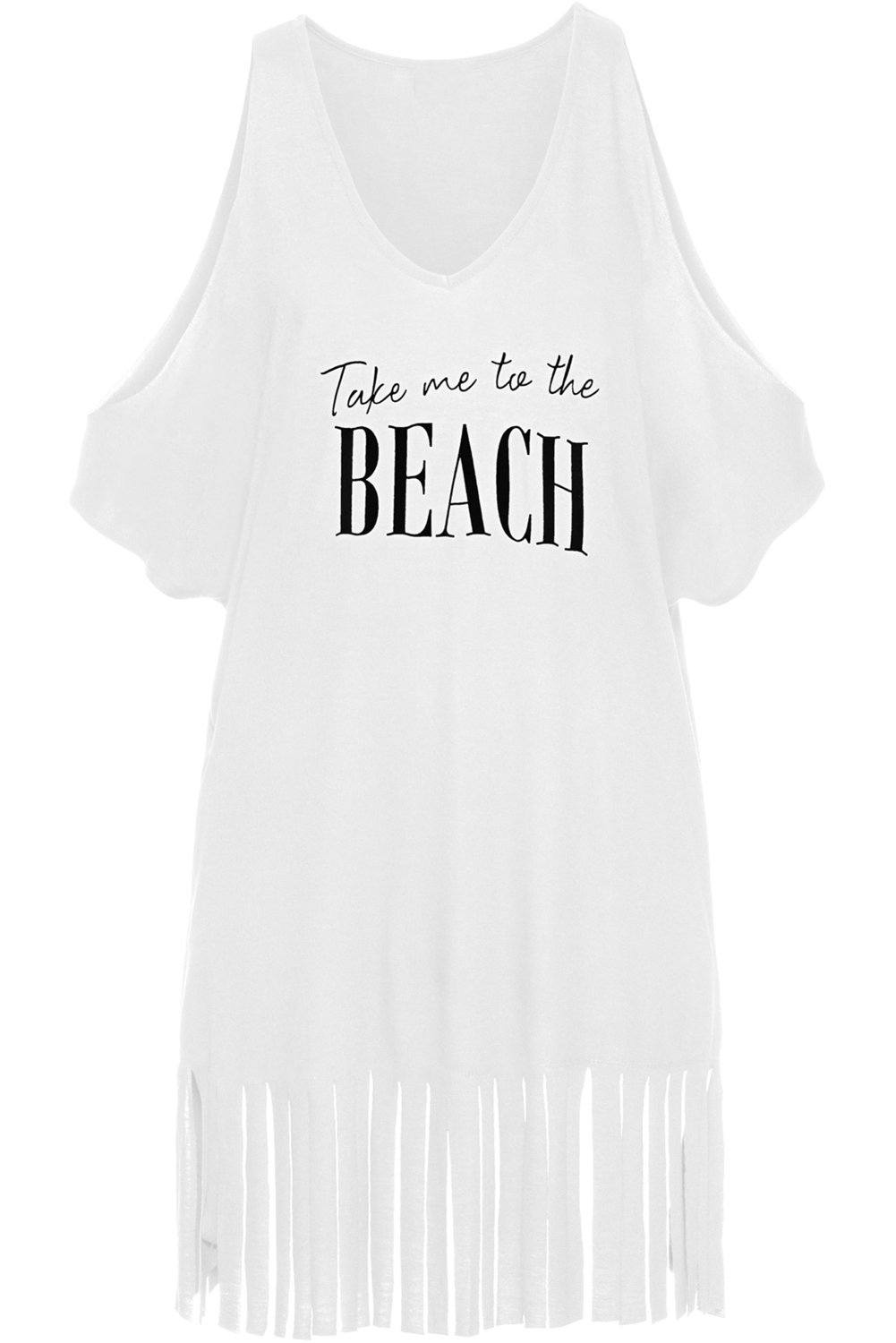 14645229eb ... White Loose Fit Take me to the BEACH Cover up-BuyzfromtheAvenue ...
