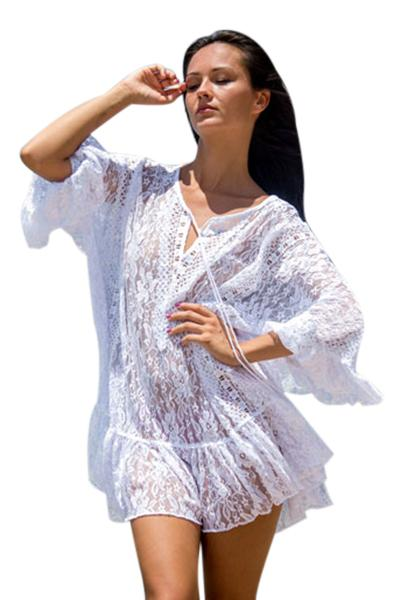 cf7cea8a30a White Sheer Floral Lace Tunic Beachwear – BuyzfromtheAvenue