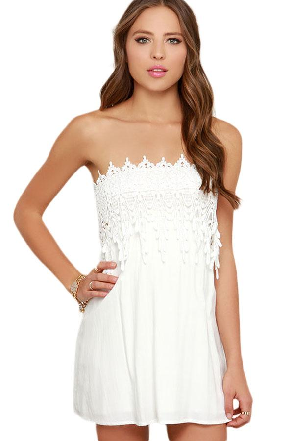22a6770f20f8 White Strapless Lace Skater Dress – BuyzfromtheAvenue