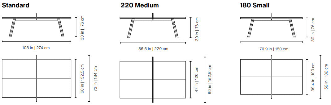 RS Barcelona You and Me Ping Pong Table Size Dimensions