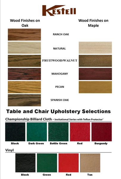 table and chair wood and vinyl samples