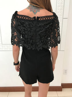 black crochet self portrait style romper