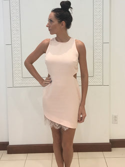pink dress with side/back cut outs and lace at hem