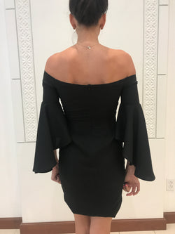 black short dress with bell sleeves