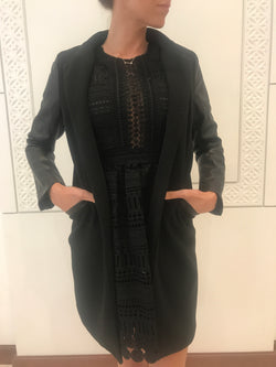 black long jacket with faux leather sleeve