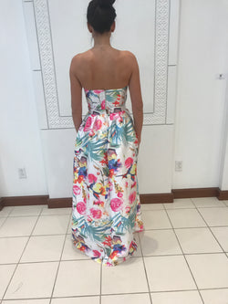 tropical floral tube top and full ball skirt