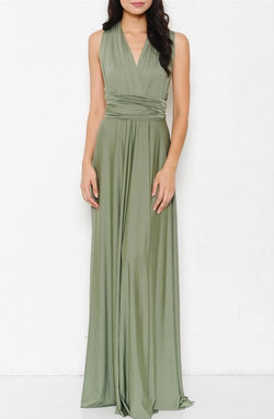 Olive Maxi Wrap With a Twist Dress