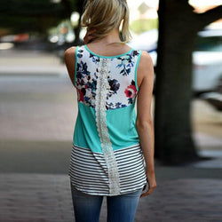 Two Tone Tank with Floral Print