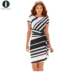 Wrap Style White Striped Dress