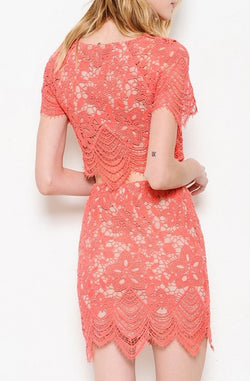 Coral Lace Crop Top