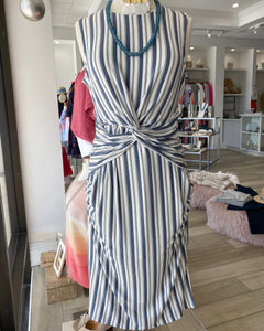 Tart Blue Striped Cross Front Dress