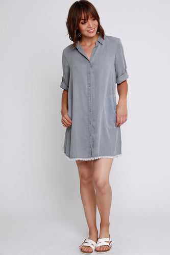 Mododoc Frayed Hem Casual Dress