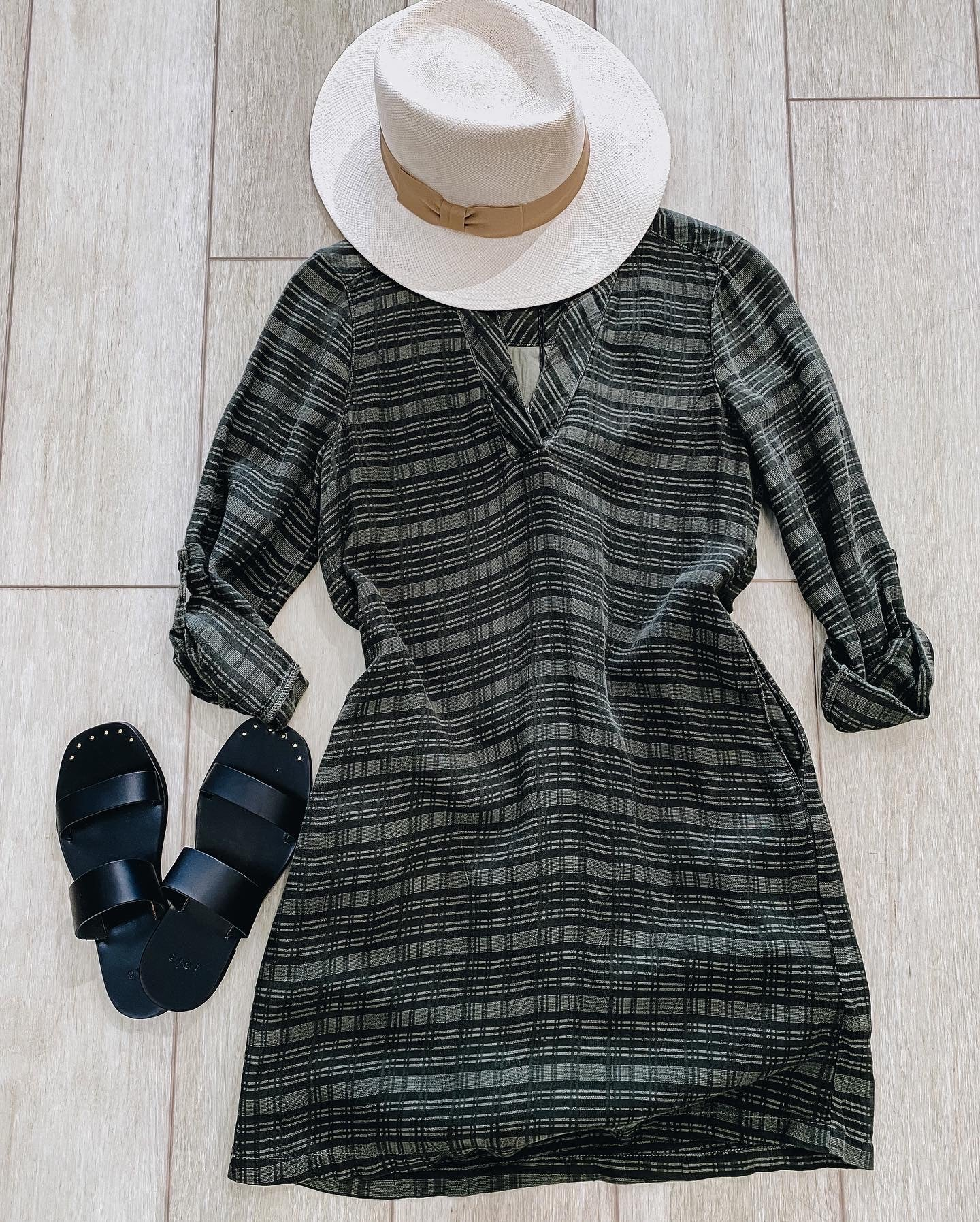 Maven West Green Plaid 3/4 Sleeve Pocket Dress