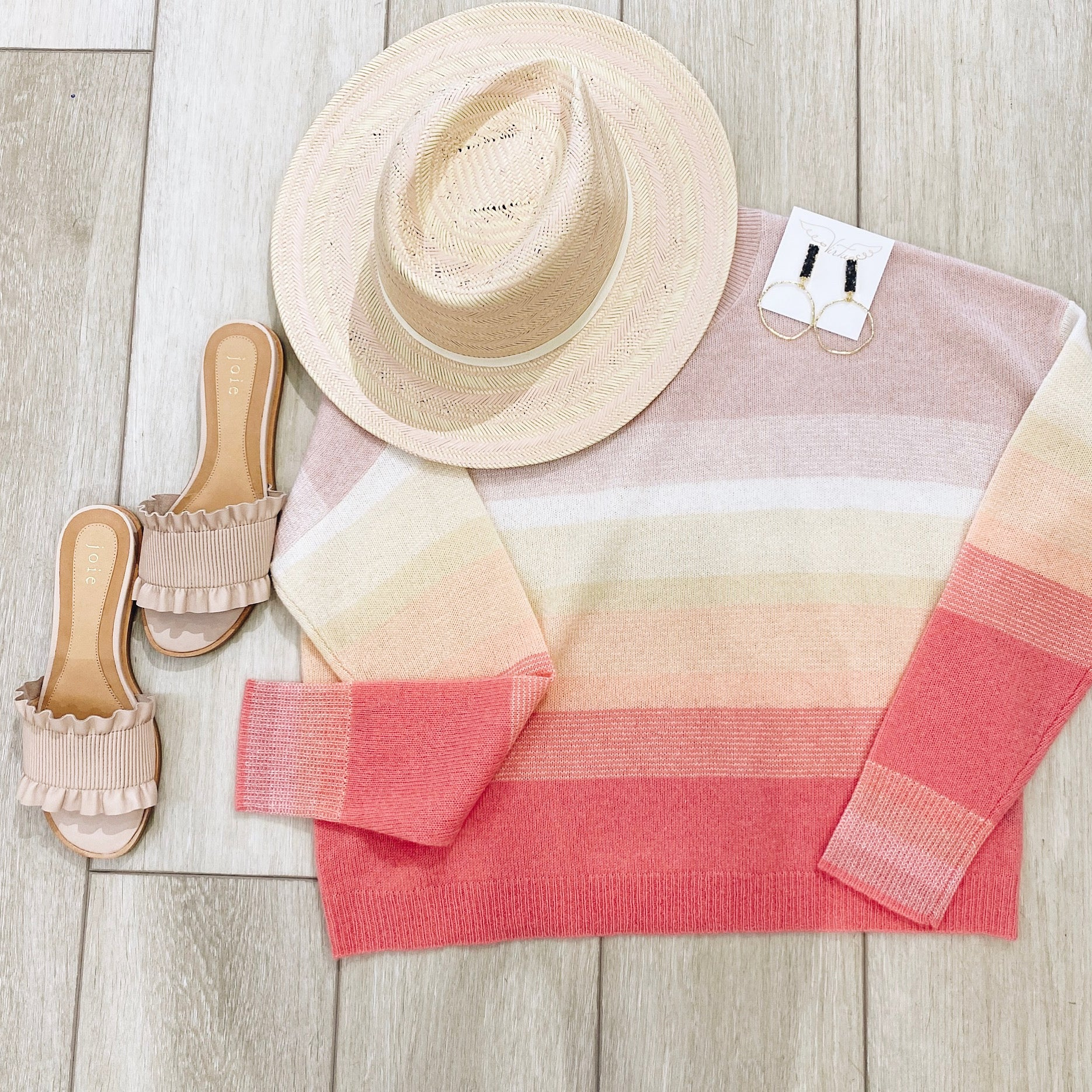 360 Cashmere Sunset Striped Sweater
