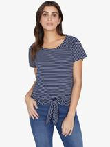 Sanctuary Lou Ruched Tie Tee Navy Vibration Sea Foam Stripe