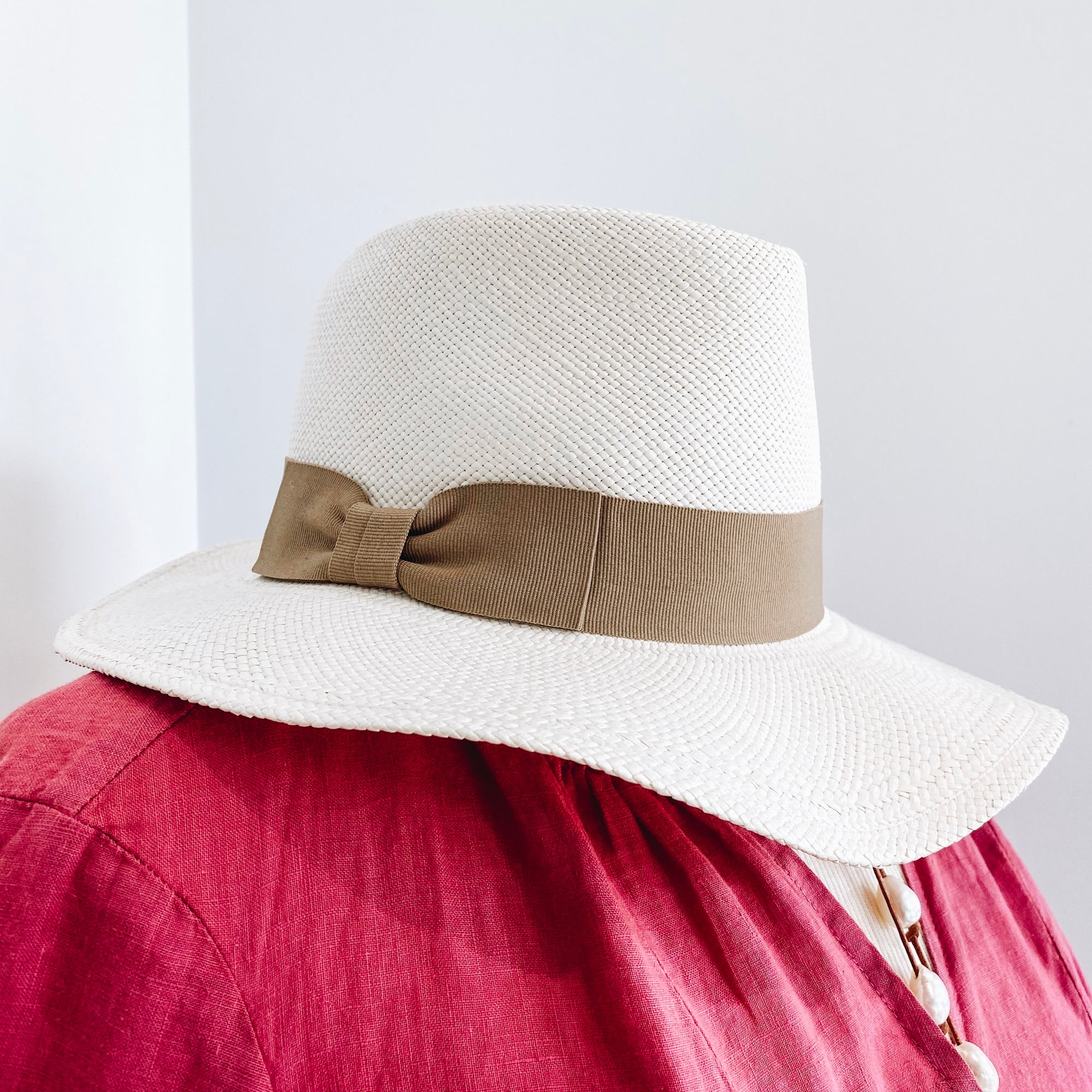 White with Tan Band Hat