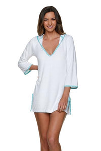 Helen Jon Hooded Terry cover-up sunset-key kiwi