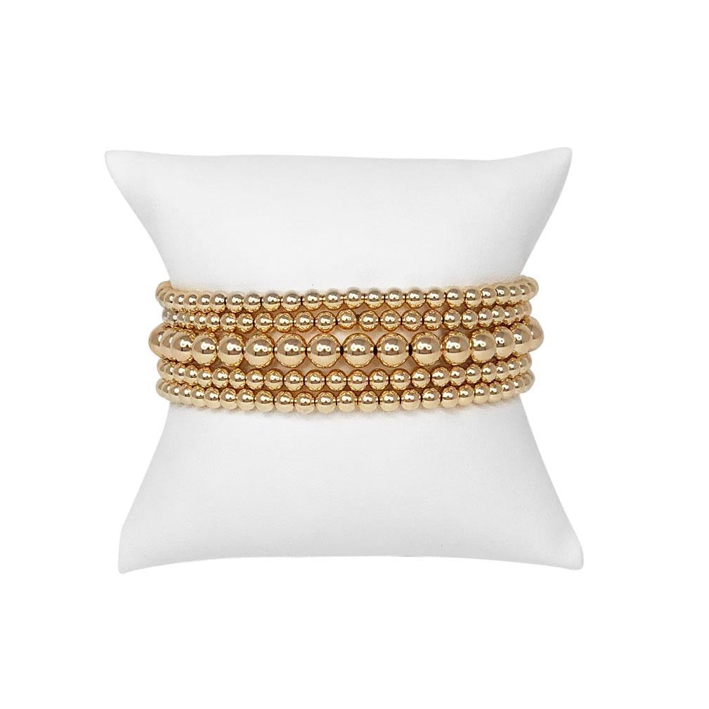 Simply Classic 6mm Stack of 5 Gold Bracelets