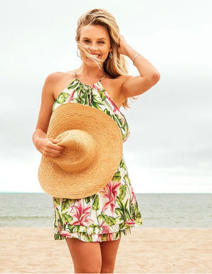 Lavender Brown Tropical Print Dress