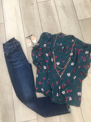 Teal Floral Ruffle Blouse