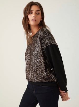 Bronze Sequin Pullover Sweatshirt
