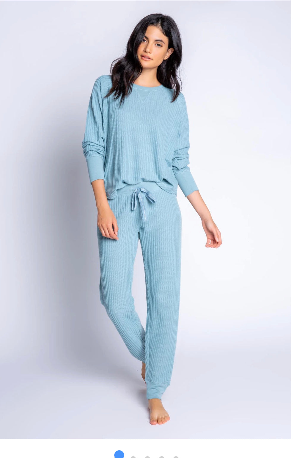 PJ Salvage Ski Icy Blue Soft Thermal Pajama Set