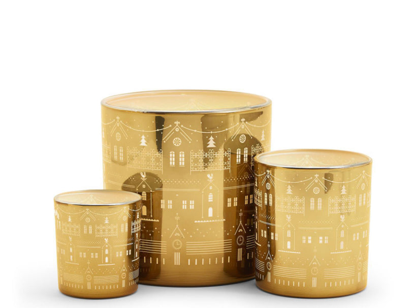 Set of 3 Gold Holiday Votive Candle Holders