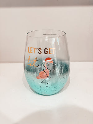 Frosted Metallic Beach Themed Christmas Stemless Glasses