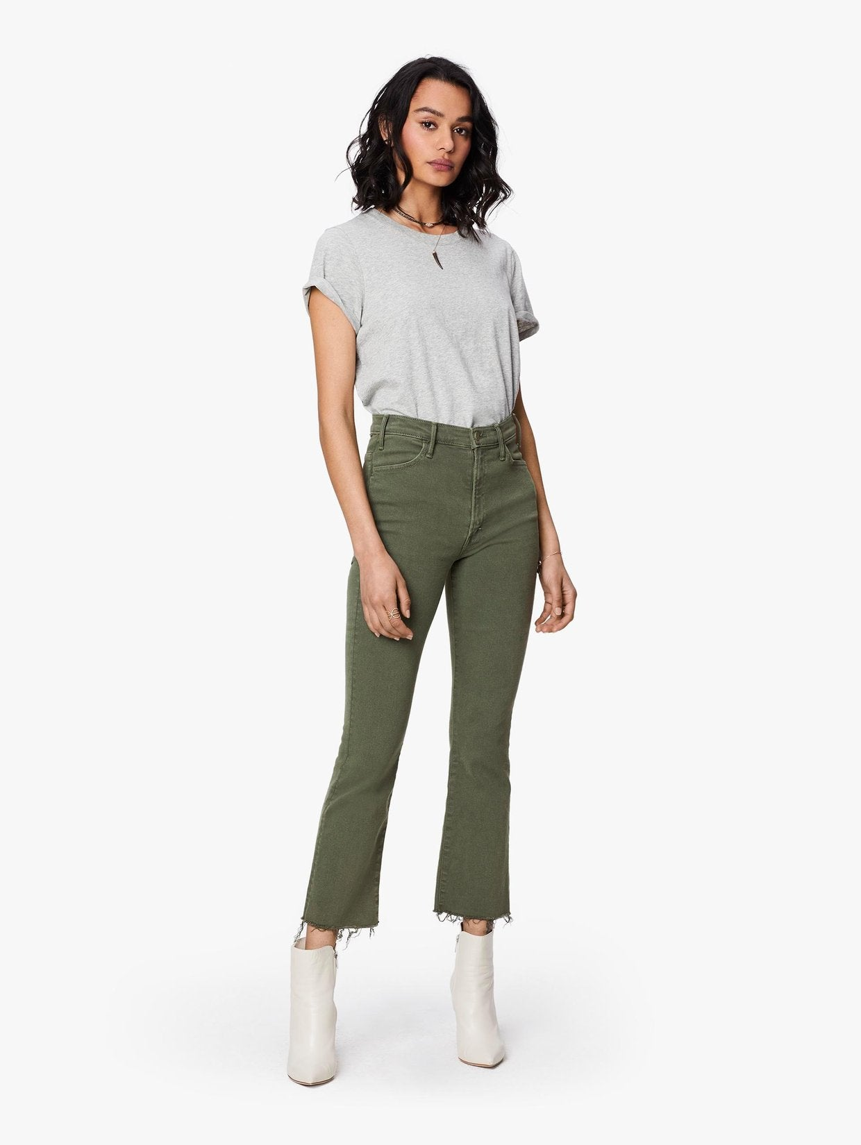 Mother Denim Green Hustler Ankle Fray Jean