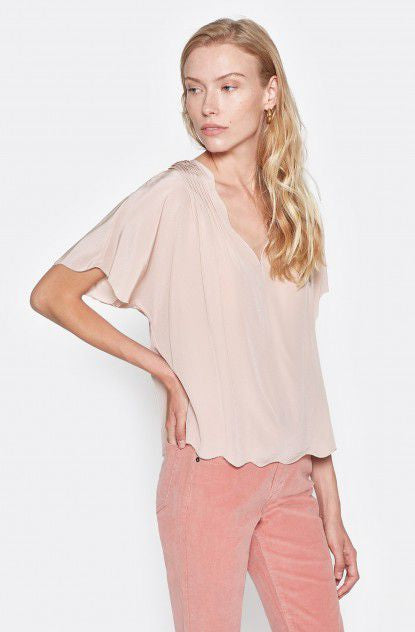 Joie Blush Pink Silk Flutter Sleeve Top