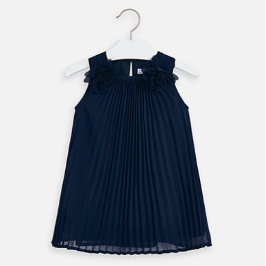 MAYORAL Navy Pleated dress