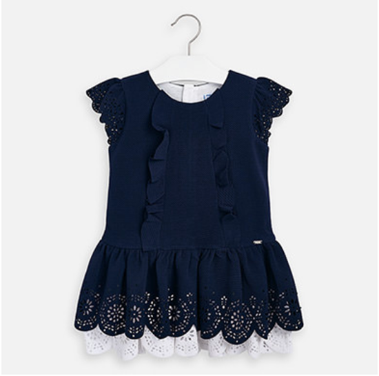 MAYORAL Navy Ruffle Dress