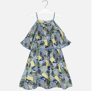 MAYORAL Blue and Yellow Printed Dress
