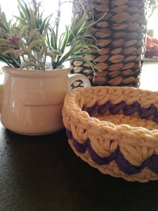 Crochet beige&light purple basket round made out of 4mm PES rope