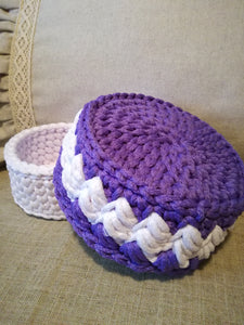 Crochet snow white&light purple round basket made out of 4mm PES rope