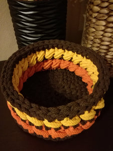 Big round crochet basket made out of 5mm rope