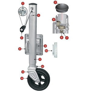 SEACOAT Swing-Up Trailer Jack | 1500 lb