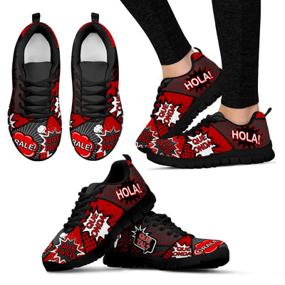 Women's Spanish Comic Speech Bubble Sneakers red black
