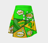 Comic Speech Bubbles Flare Skirt Green