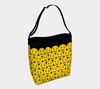 Happy Emoji Print Stretchy Day Tote in Yellow