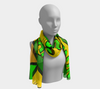 Comic Print Long Chiffon Scarf in Green