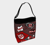 Spanish Comic Speech Bubbles Stretchy Day Tote Bag in Red & Dark Gray